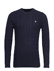 Cable Crew Sweater - NAVY DD