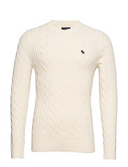 Cable Crew Sweater - WHITE
