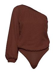 One Shoulder Bodysuit - BROWN DOT