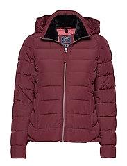 Packable Puffer Coat - BURGUNDY DD