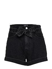 Ultra-High Rise Belted Black Shorts - WASHED BLACK