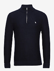 Abercrombie & Fitch - ANF MENS SWEATERS - half zip - navy - 0