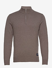 Abercrombie & Fitch - ANF MENS SWEATERS - half zip - light brown dd - 0