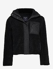 Abercrombie & Fitch - Dad Fleece Coat - sweatshirts - black dd - 0
