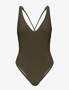 Plunge One Piece Rib - OLIVE SD/TEXTURE