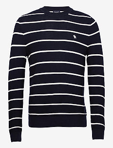ANF MENS SWEATERS - pulls col rond - navy stripe