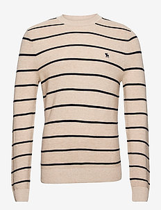ANF MENS SWEATERS - pulls col rond - tan stripe