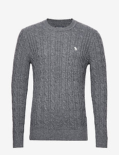 Cable Crew Sweater - DARK GREY FLAT