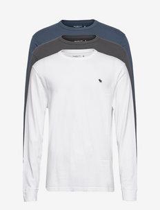 ANF MENS KNITS - långärmade t-shirts - black navy white