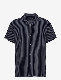 ANF MENS WOVENS - chemises à manches courtes - navy pinstripe