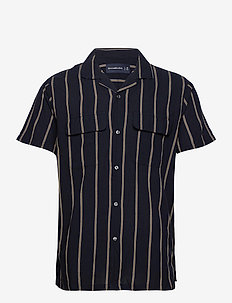 ANF MENS WOVENS - chemises à manches courtes - navy vertical stripe