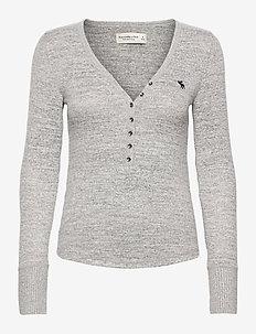ANF WOMENS KNITS - pitkähihaiset t-paidat - light grey sd/texture