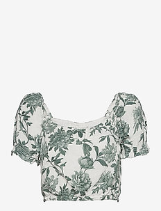 ANF WOMENS WOVENS - hauts courts - white and green floral