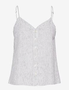 Button Linen Cami - WHITE STRIPE