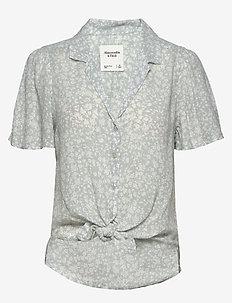 Flutter Sleeve Shirt - NAVY PRINT