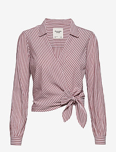 Preppy Wrap Shirt - long-sleeved shirts - burgundy stripe