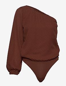 One Shoulder Bodysuit - body - brown dot