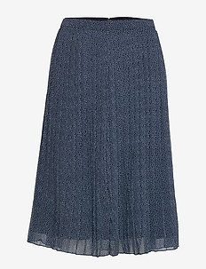 Pleated Midi Skirt - NAVY PATTERN