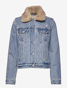 Sherpa Collar Denim Coat - LIGHT BLUE DD