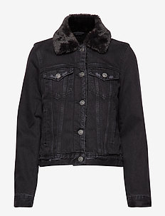 Sherpa Collar Denim Coat - BLACK DD