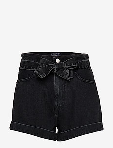 Ultra-High Rise Belted Black Shorts - WASHED BLACK