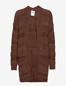 Yarn Mix Cardi - cardigans - dark brown sd/texture