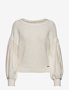 Pleat Sleeve Boatneck - tröjor - cream