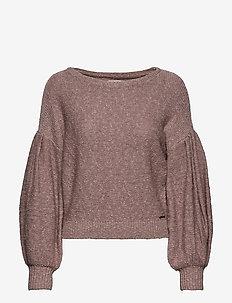 Pleat Sleeve Boatneck - tröjor - light pink sd/texture