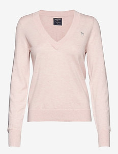 Icon V-Neck Sweater - LIGHT PINK SD/TEXTURE