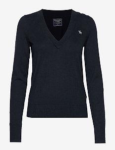 Icon V-Neck Sweater - NAVY SD/TEXTURE