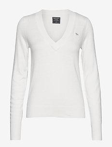 Icon V-Neck Sweater - WHITE