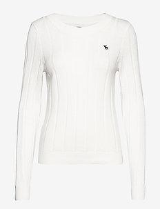Icon Rib Crewneck Sweater - WHITE