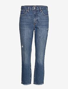 Dark Wash Mom Jeans - DARK DESTROY