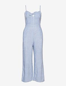 Tie Front Jumpsuit - MED BLUE STRIPE