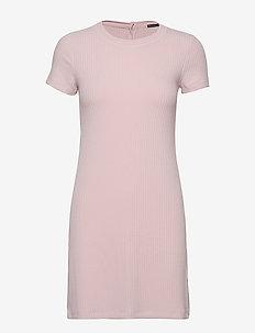 Short Sleeve Rib Knit Dress - LIGHT PINK DD
