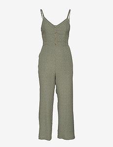 Tie Back Jumpsuit - OLIVE PRINT