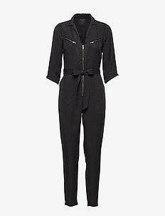 Zipper Utility Jumpsuit - BLACK DD