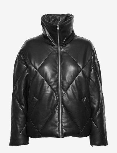 ANF WOMENS OUTERWEAR - vinterjackor - black vegan leather (midweight)