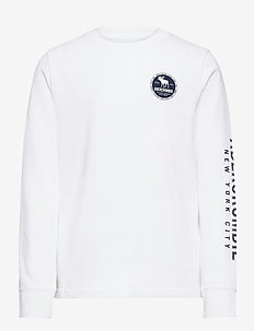 Vintage Print Logo - langermede t-skjorter - optic white