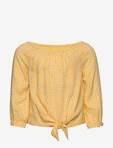 Tie Front Ls - blusen & tuniken - light yellow patt