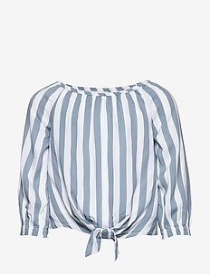 Tie Front Ls - blusen & tuniken - navy pattern