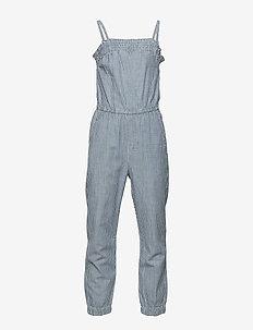 Smocked Neckline Jumpsuit - jumpsuits - navy pattern