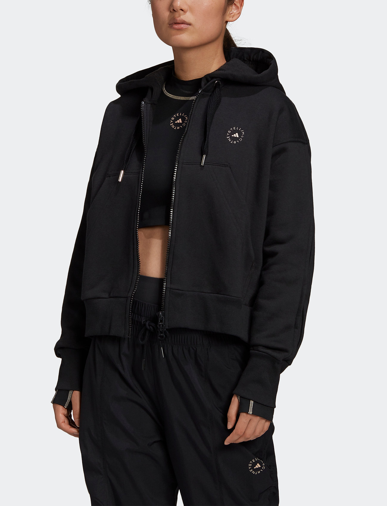 adidas by Stella McCartney - Full-Zip Cropped Hoodie W - collegepaidat ja hupparit - black - 0