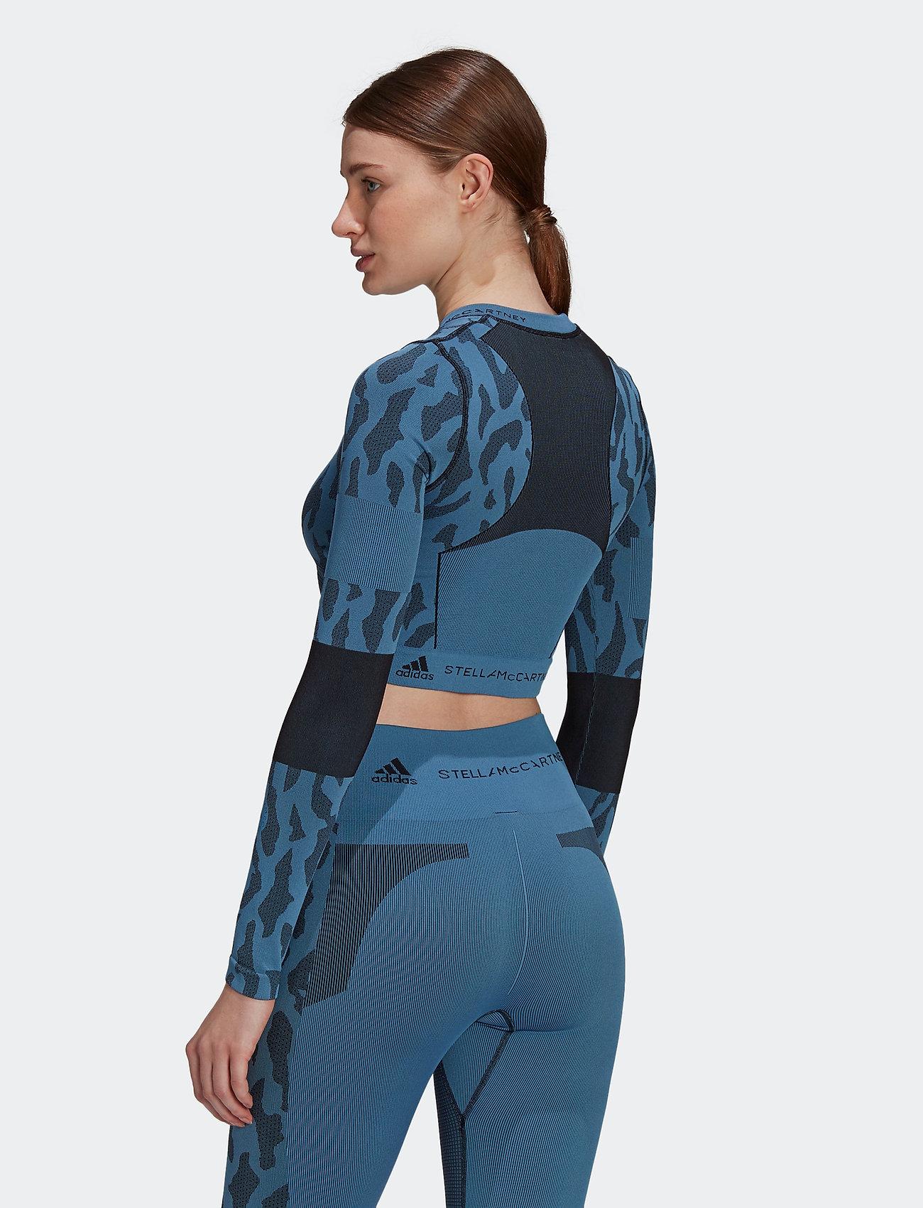 adidas by Stella McCartney - TruePurpose Seamless Crop Top W - tops & t-shirts - stoblu/black - 3