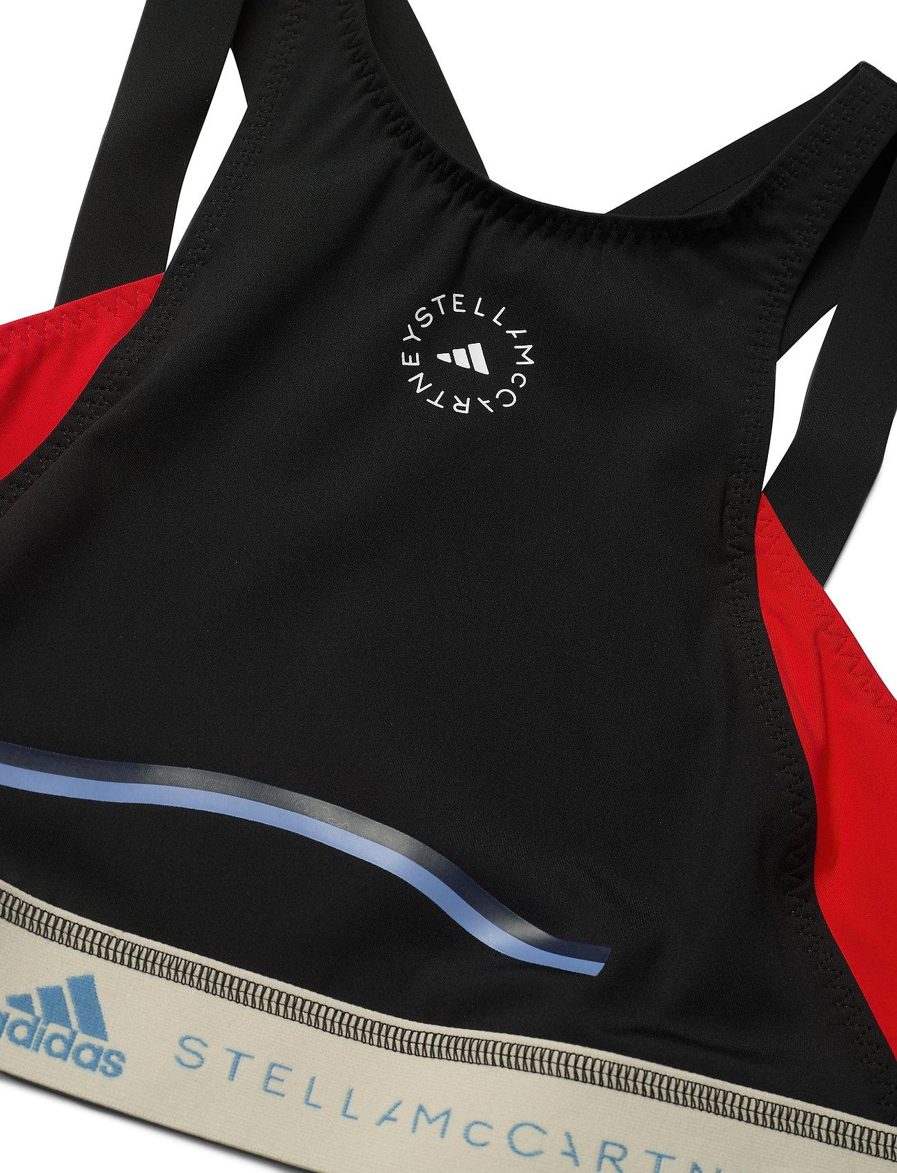 adidas by Stella McCartney - BeachDefender Bikini Top W - bikini tops - black/vivred/stoblu - 5