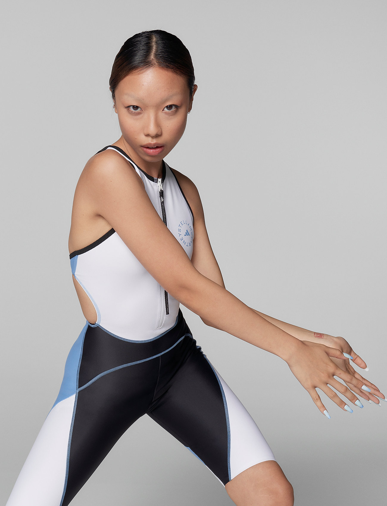 adidas by Stella McCartney - BeachDefender Trisuit W - sports swimwear - stoblu/black/white - 0