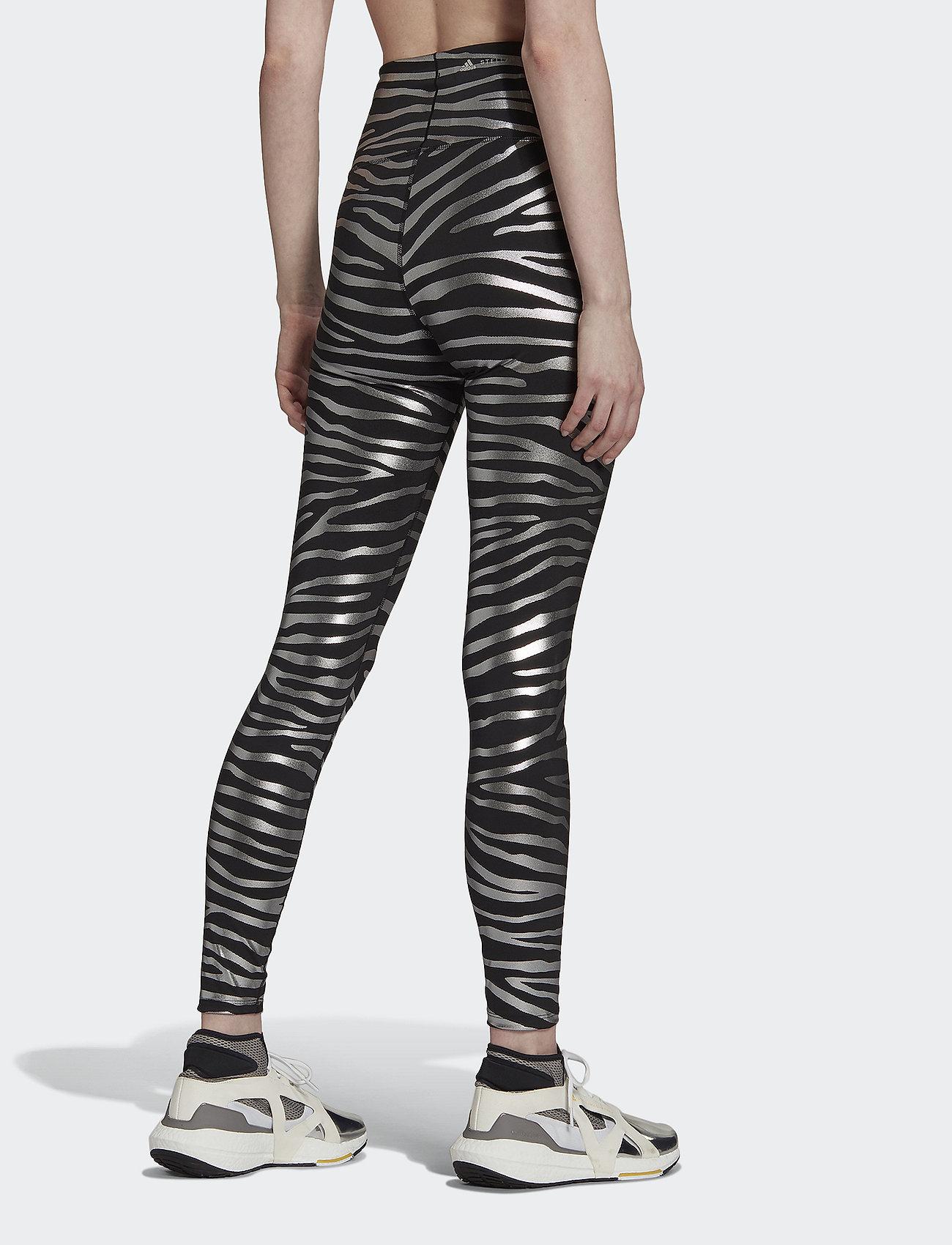 adidas by Stella McCartney - Metallic Print Tights W - tights & shorts - black/silvmt - 3