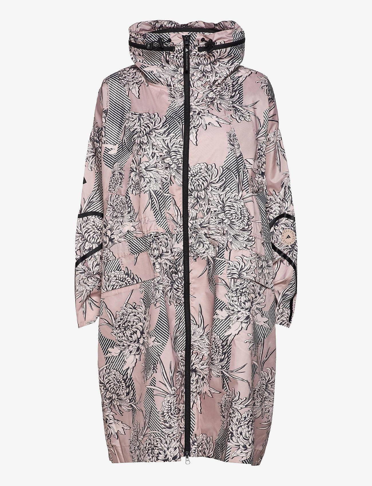 adidas by Stella McCartney - Long Lightweight Allover Print Parka W - parka coats - pnktin/talc/pearos/bl - 1