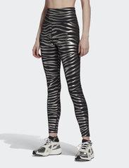 adidas by Stella McCartney - Metallic Print Tights W - tights & shorts - black/silvmt - 0