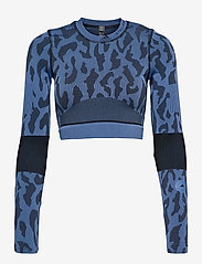 adidas by Stella McCartney - TruePurpose Seamless Crop Top W - tops & t-shirts - stoblu/black - 1